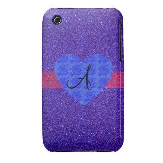 Purple glitter monogram blue roses iPhone 3 covers