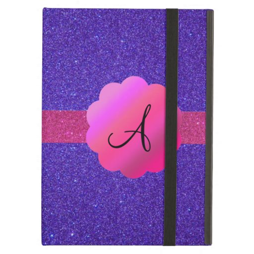 Purple glitter monogram iPad covers