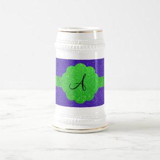 Purple glitter monogram coffee mugs