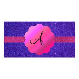 Purple glitter monogram picture card