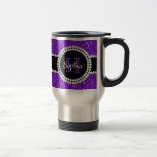Purple Glitter Monogrammed Travel Coffee Mug
