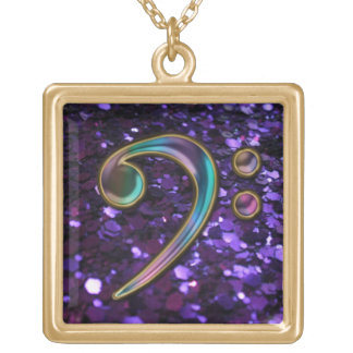 Purple Glitter Music Colorful Bass Clef Necklace