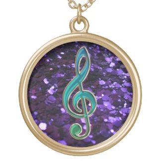 Purple Glitter Music Green Treble Clef Necklace