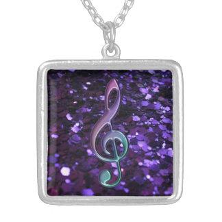 Purple Glitter Music Treble Clef Necklace