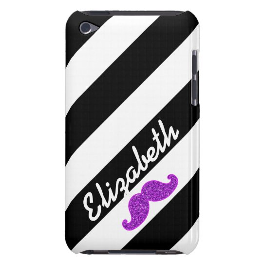 PURPLE GLITTER MUSTACHE BLACK STRIPES NAME BARELY THERE iPod COVER