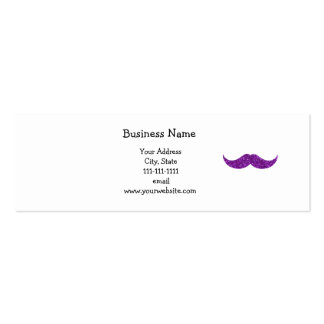 purple glitter mustache Double-Sided mini business cards (Pack of 20)