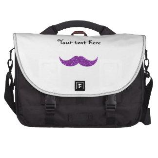 Purple glitter mustache laptop bags