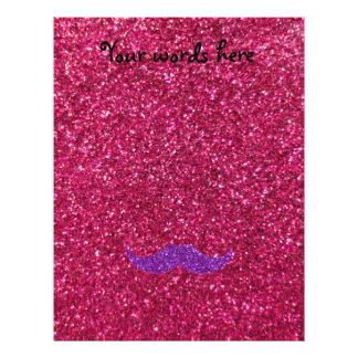 "Purple glitter mustache pink glitter 8.5"" x 11"" flyer"
