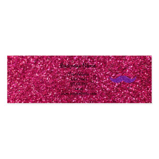 Purple glitter mustache pink glitter Double-Sided mini business cards (Pack of 20)