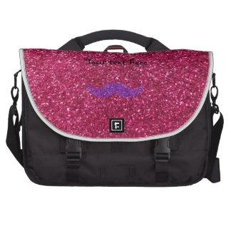 Purple glitter mustache pink glitter commuter bags