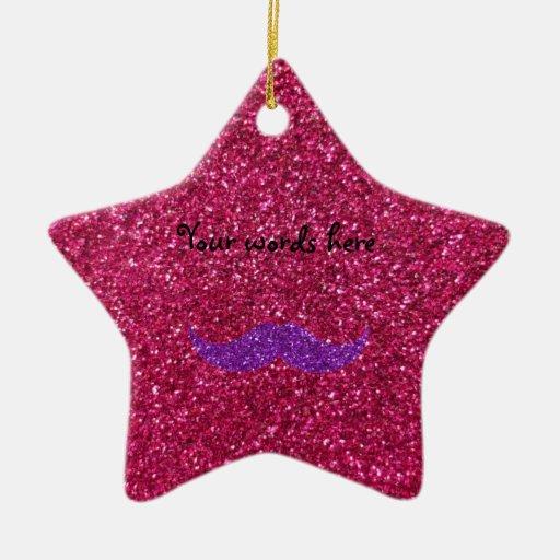 Purple glitter mustache pink glitter christmas tree ornament