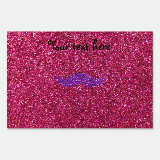Purple glitter mustache pink glitter yard signs