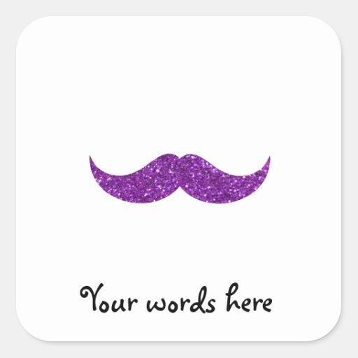 Purple glitter mustache square sticker