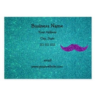 Purple glitter mustache turquoise glitter large business cards (Pack of 100)