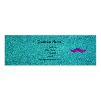 Purple glitter mustache turquoise glitter Double-Sided mini business cards (Pack of 20)