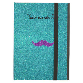 Purple glitter mustache turquoise glitter cover for iPad air