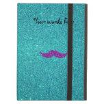 Purple glitter mustache turquoise glitter iPad cases