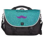 Purple glitter mustache turquoise glitter bag for laptop