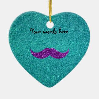 Purple glitter mustache turquoise glitter christmas ornaments