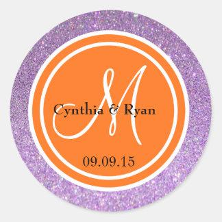 Purple Glitter & Orange Wedding Monogram Classic Round Sticker