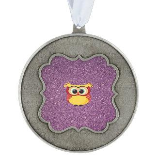Purple Glitter Owl Pewter Ornament