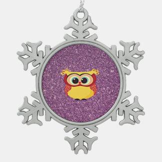 Purple Glitter Owl Snowflake Pewter Christmas Ornament