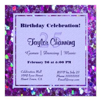 Purple Glitter Party Card