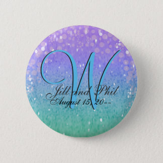 Purple Glitter Patio Lantern Confetti Glam Blue Pinback Button