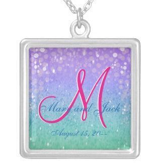 Purple Glitter Patio Lantern Confetti Glam Glow Silver Plated Necklace