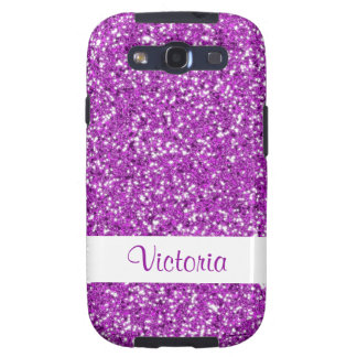 Purple Glitter Pattern Look-like With Name Samsung Galaxy S3 Case