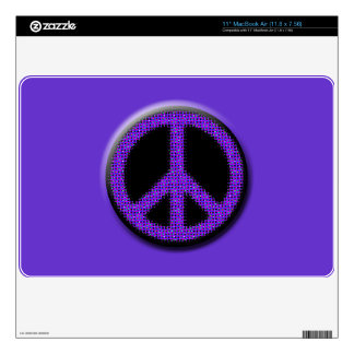 Purple Glitter Peace Laptop Cover MacBook Air Skins