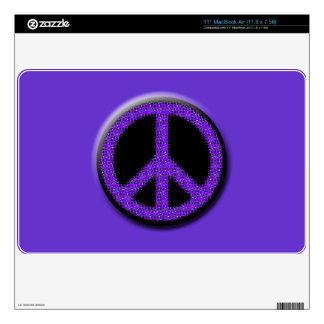 """Purple Glitter Peace Laptop Cover 11"""" MacBook Air Skin"""