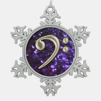 Purple Glitter Pearl Bass Clef Christmas Snowflake Ornament