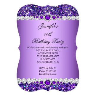 Purple Glitter Pearl Diamond Birthday Party Card