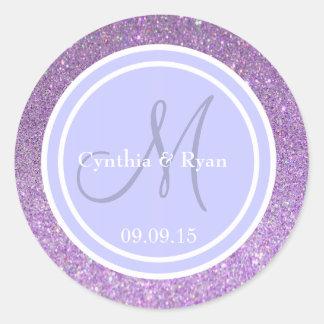 Purple Glitter & Periwinkle Wedding Monogram Classic Round Sticker