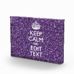Purple Glitter Personalize KEEP CALM AND Your Text Award