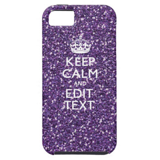 Purple Glitter Personalize KEEP CALM AND Your Text iPhone 5 Covers