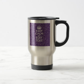 Purple Glitter Personalize KEEP CALM AND Your Text Mug