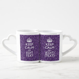 Purple Glitter Personalize KEEP CALM AND Your Text Lovers Mug Sets