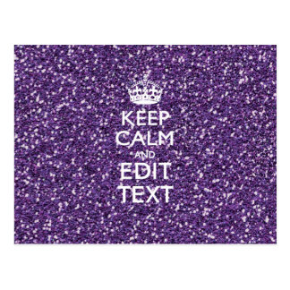 Purple Glitter Personalize KEEP CALM AND Your Text Postcard