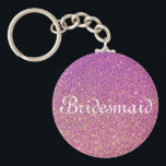 "Purple Glitter Personalized Bridesmaid Keychain<br><div class=""desc"">This is Purple glitter personalized bridesmaid keychain. Faux gold glitter Elegant logo design with monogrammed letter initials. It is cute vintage gift idea for classy bride,  flower girls,  maid of honor and bridesmaids at fancy wedding or bridal shower.</div>"