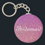 """Purple Glitter Personalized Bridesmaid Keychain<br><div class=""""desc"""">This is Purple glitter personalized bridesmaid keychain. Faux gold glitter Elegant logo design with monogrammed letter initials. It is cute vintage gift idea for classy bride,  flower girls,  maid of honor and bridesmaids at fancy wedding or bridal shower.</div>"""