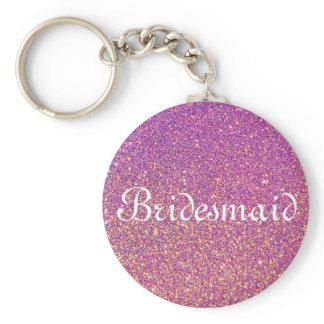 Purple Glitter Personalized Bridesmaid Keychain