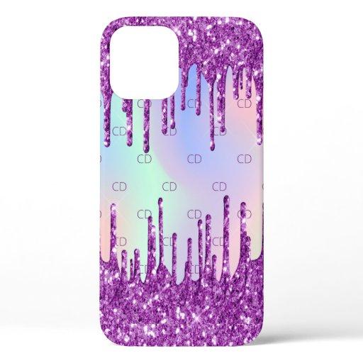 Purple glitter pink custom holographic monogram iPhone 12 case