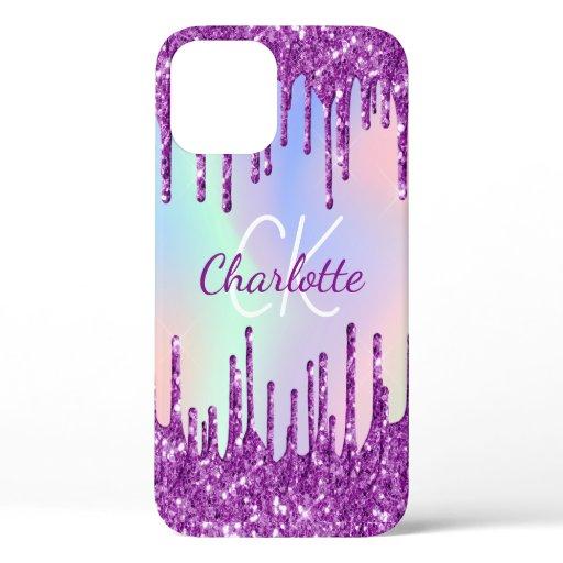 Purple glitter pink holographic custom monogram iPhone 12 case