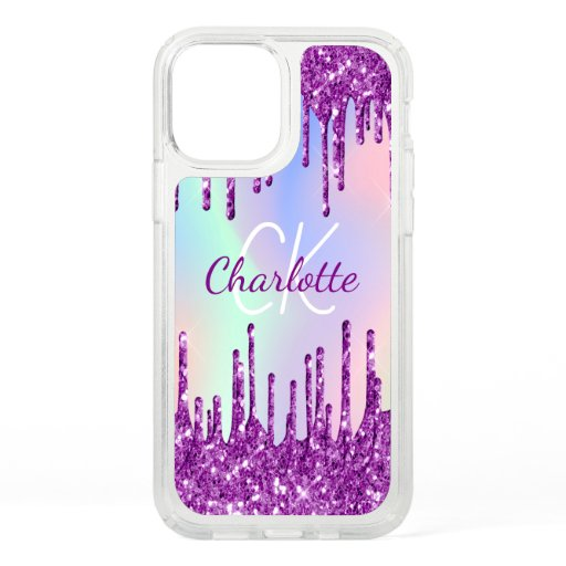 Purple glitter pink holographic custom monogram speck iPhone 12 case