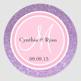Purple Glitter & Pink Wedding Monogram Classic Round Sticker