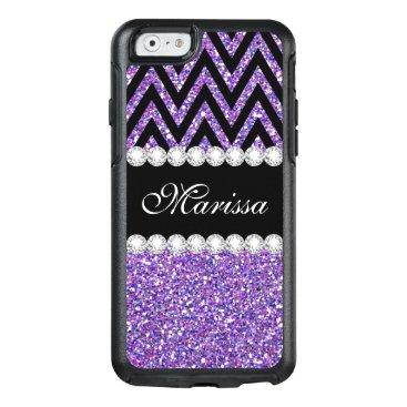 Christmas Themed Purple Glitter Print Black Chevron Otter iPhone 6