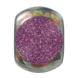 Purple Glitter Printed Glass Jars