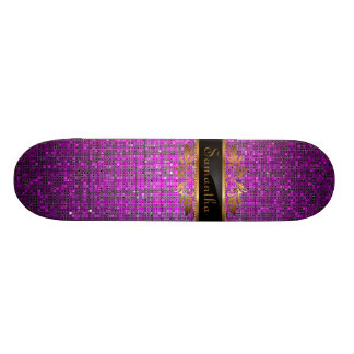 Purple Glitter Sequin Disco Glitz Comp Skateboard